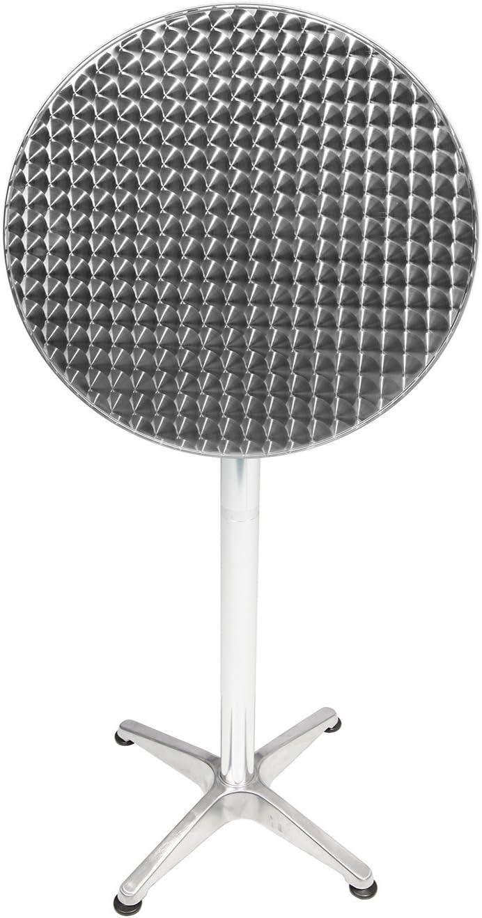 4 piezas, aluminio, 60 x 60 cm, altura 70 cm, altura 110 cm, altura regulable, 3 sillas apilables, aluminio//rat/án Mojawo/® Juego de mesa y sillas color gris antracita