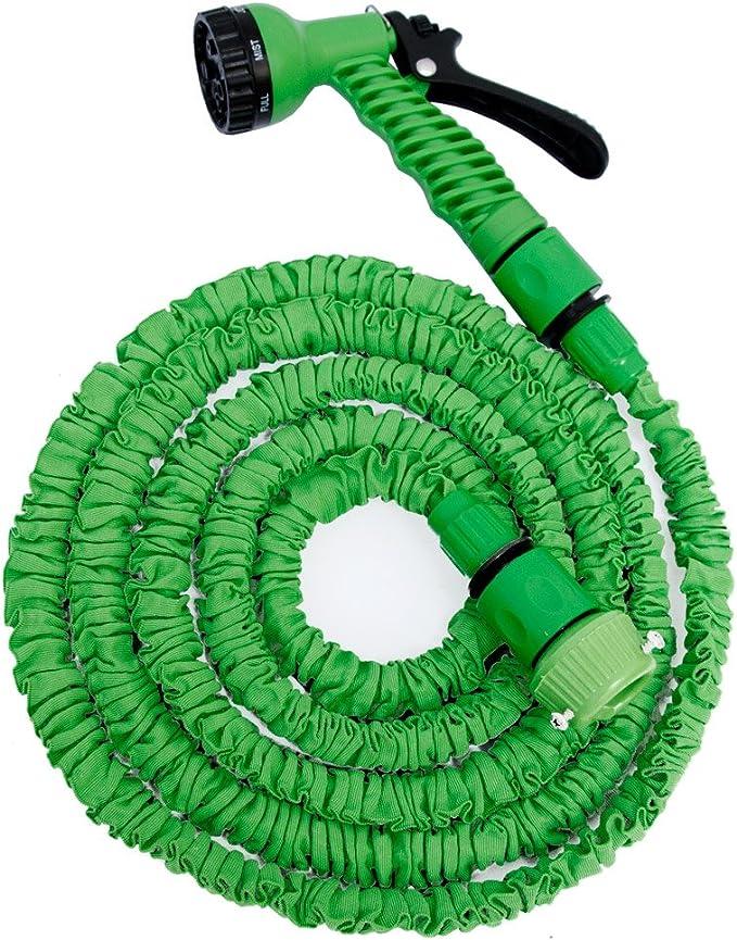 EYEPOWER Manguera de riego Extensible con la presión del Agua hasta 3 Veces su Longitud Original 2, 5m-7m Incl Pistola Rociadora 7 chorros Diferentes: Amazon.es: Jardín