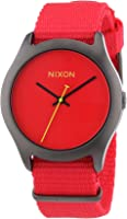 NIXON Men's Quartz Black Ion-Plated Stainless Steel and Nylon Casual Watch, Color:Red (Model: A348-1600)