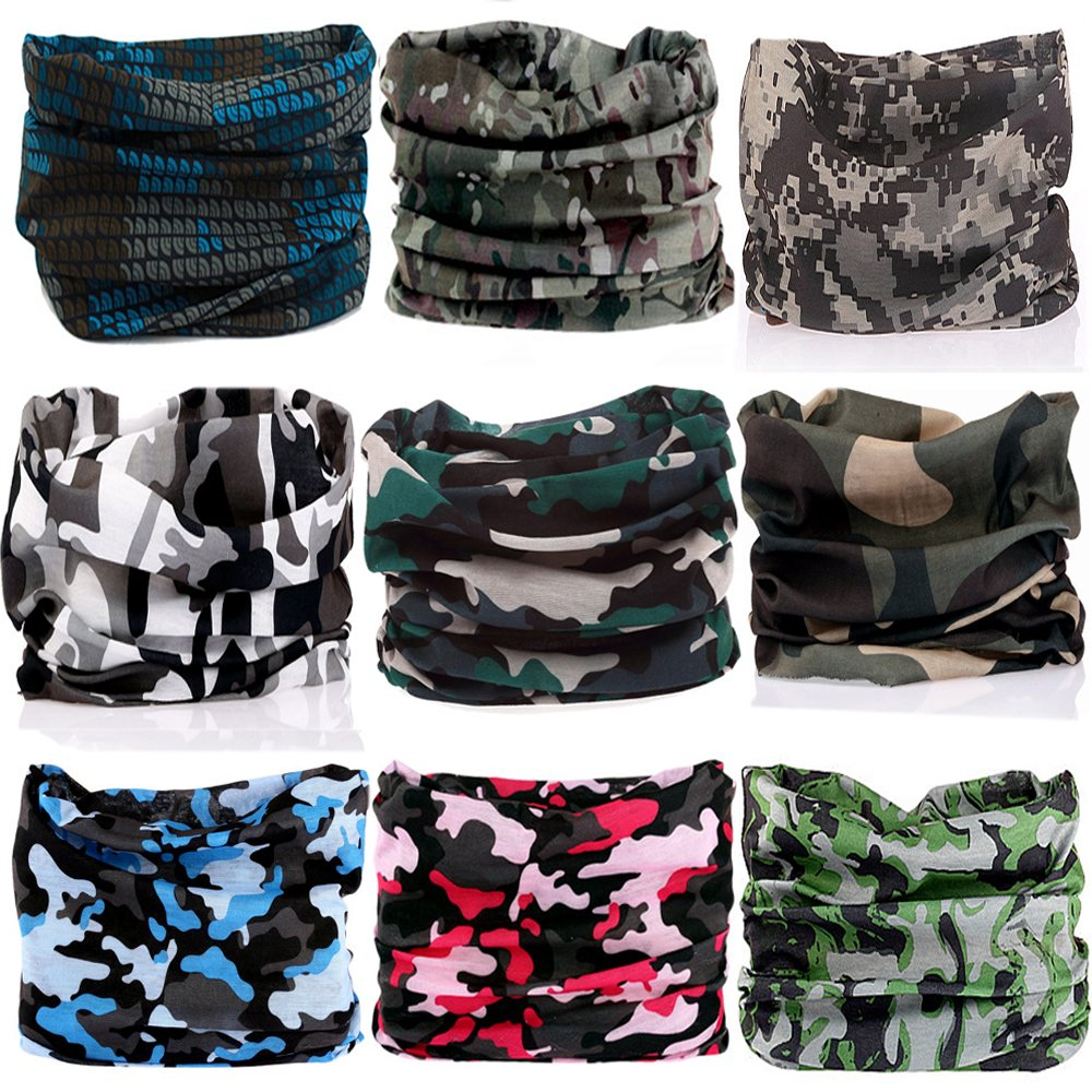 KALILY 9PCS Headband Bandana - Versatile CAMO Headwear –Multifunctional Seamless Neck Gaiter, Headwrap, Balaclava, Helmet Liner, Face Mask for Camping, Running, Cycling, Fishing etc