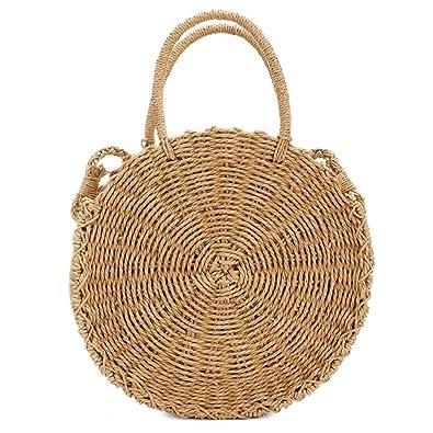 6fb1bfbd154c Round Straw Bag Rattan Crossbody Bag Handwoven Natural Summer Beach  Shoulder Bag for Women (Coffee