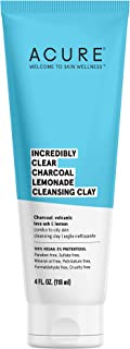 product image for ACURE Incredibly Clear Charcoal Lemonade Cleansing Clay | 100% Vegan | For Oily to Normal & Acne Prone Skin | Charcoal, Volcanic Lava & Lemon - Cleanses & Detoxifies | 4 Fl Oz (Packaging May Vary)