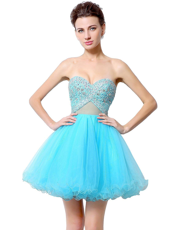 Favebridal Women's Mini Sexy Rhinestones Prom dresses Homecoming Gowns LX009