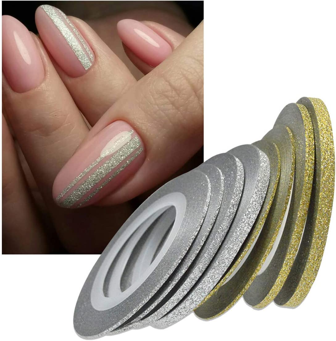 1 Rollos Nail Art Glitter Gold Silver Stripping Tape Line Strips Herramientas de decoración Nail Sticker Diy Accesorios de belleza 3Mm Gold