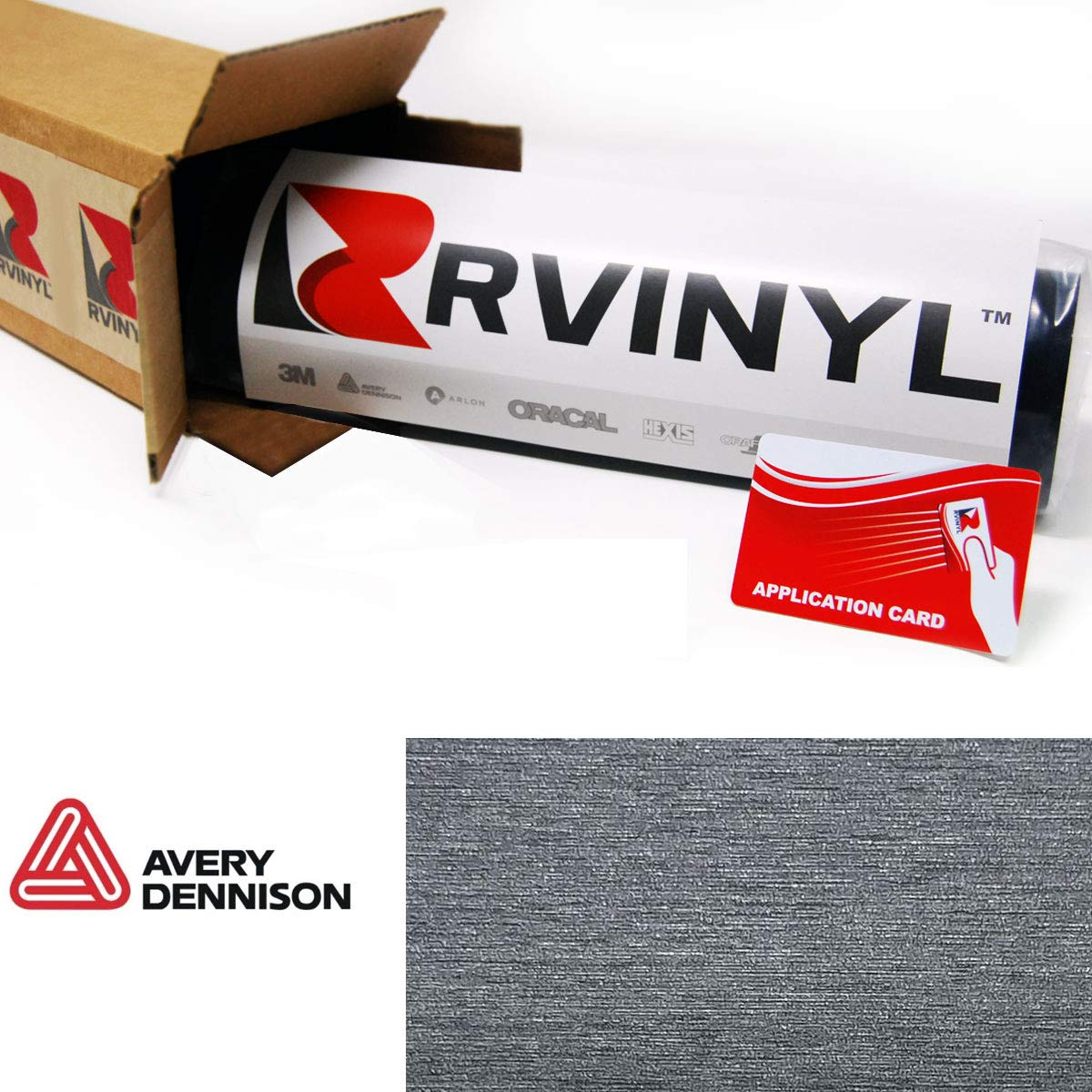 12 x 60 w//Application Card Avery SW900 802-X Brushed Titanium Supreme Wrapping Film Vinyl Vehicle Car Wrap Sheet Roll C-Avery-SW900-802-X