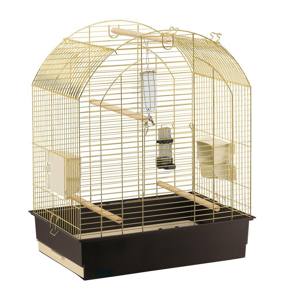 Ferplast 55008802 Uccello Heim Greta, per pappagallini, komplet Rugiada Cinghie, Dimensioni  69,5 x 44,5 x 84 cm, Ottone