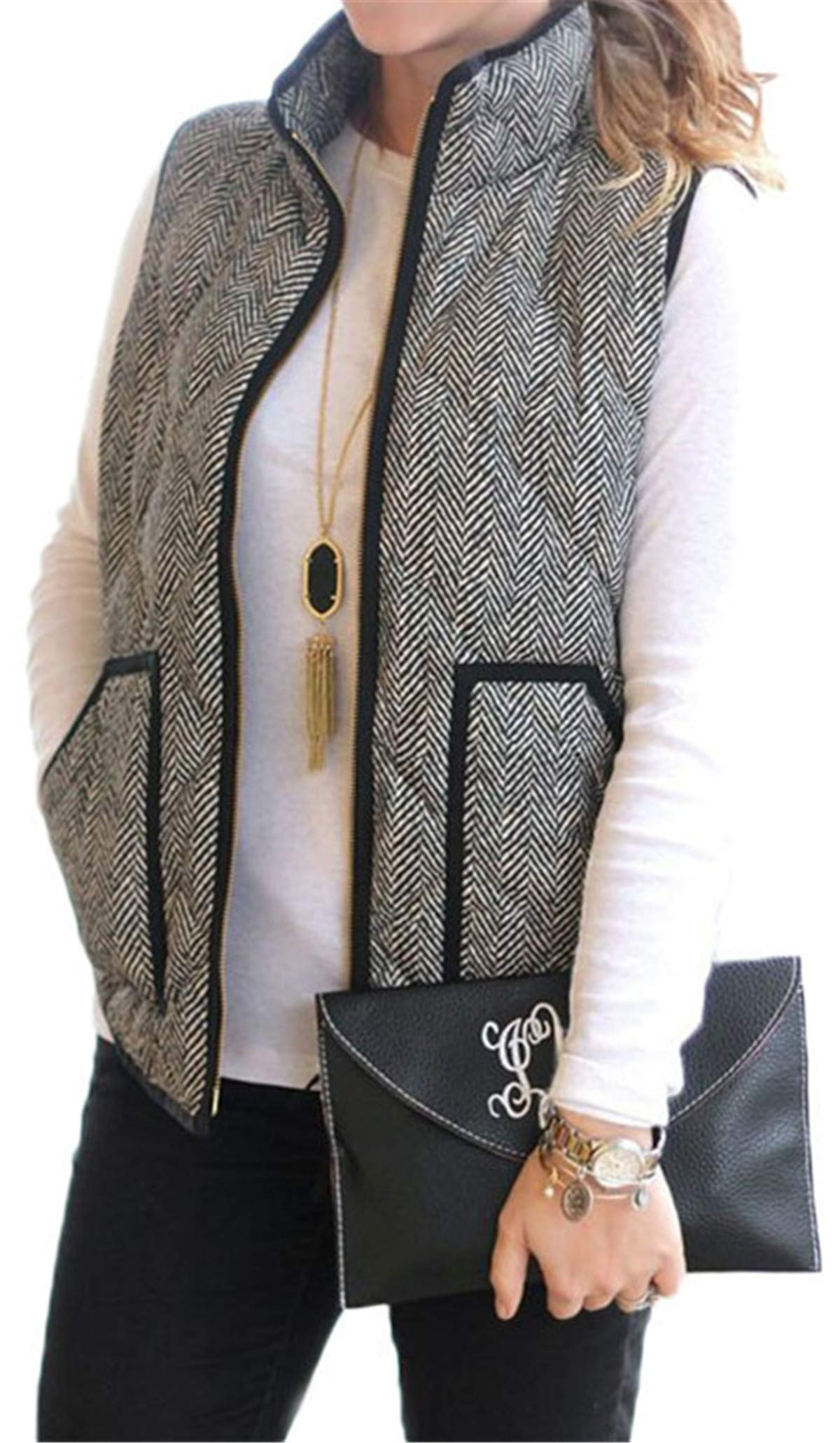 onlypuff Black Vest Women Herringbone Pattern Sleeveless Casual Fall Outwear Vests XXL by onlypuff
