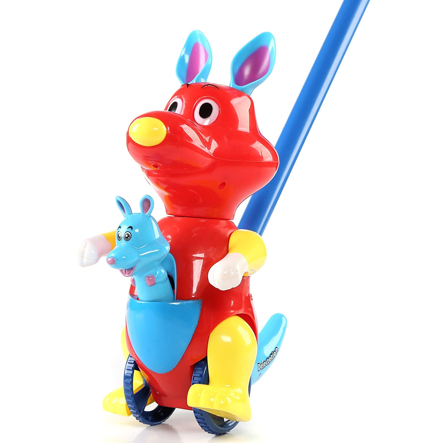Fun Central BC900 1 Pc 10 Inches Kangaroo Push Toy Pushing Toy for Kids Outdoor Push Toys Classic Push and Pull Toys Push Around Toy for Baptism Birthday and Party Prizes