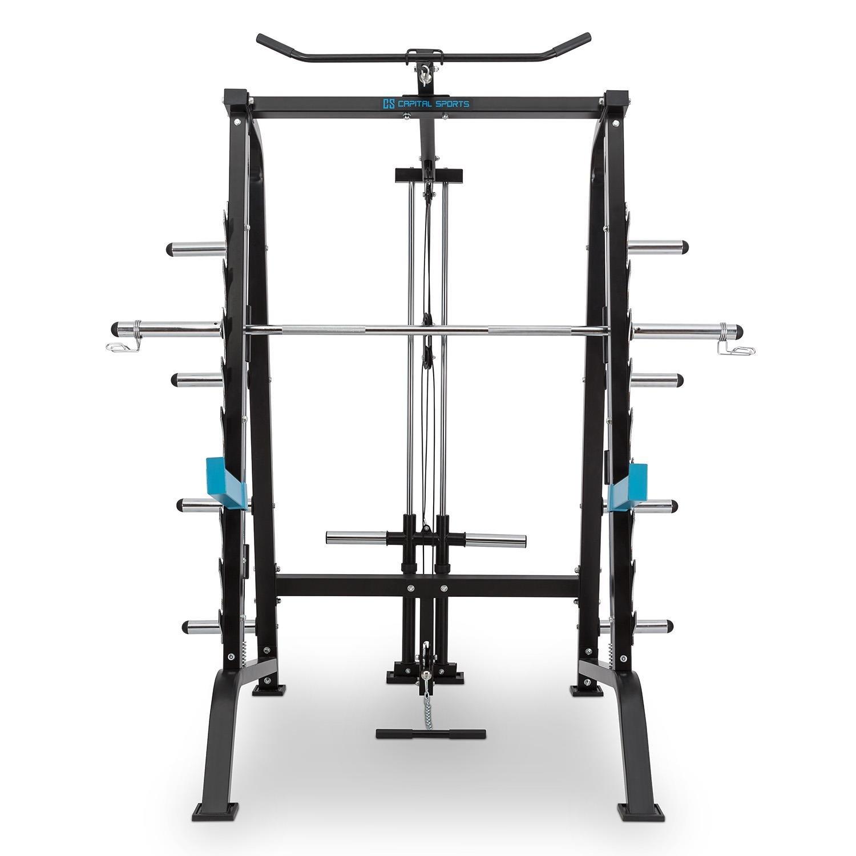 CAPITAL SPORTS Squatster Jaula de sentadillas multifunción (barra de pesas, entrenamiento halterofilia, 9 niveles, soportes seguridad, barra integrada ...