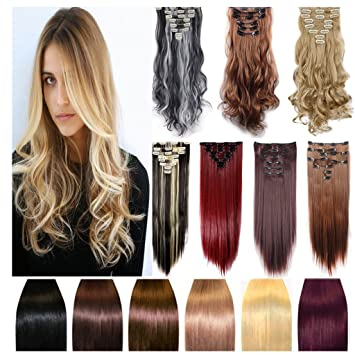 Real Hair Extensions 17 quot  (43cm) Long Wavy Curly 18 Clips 8 Pieces Full f761f250a2