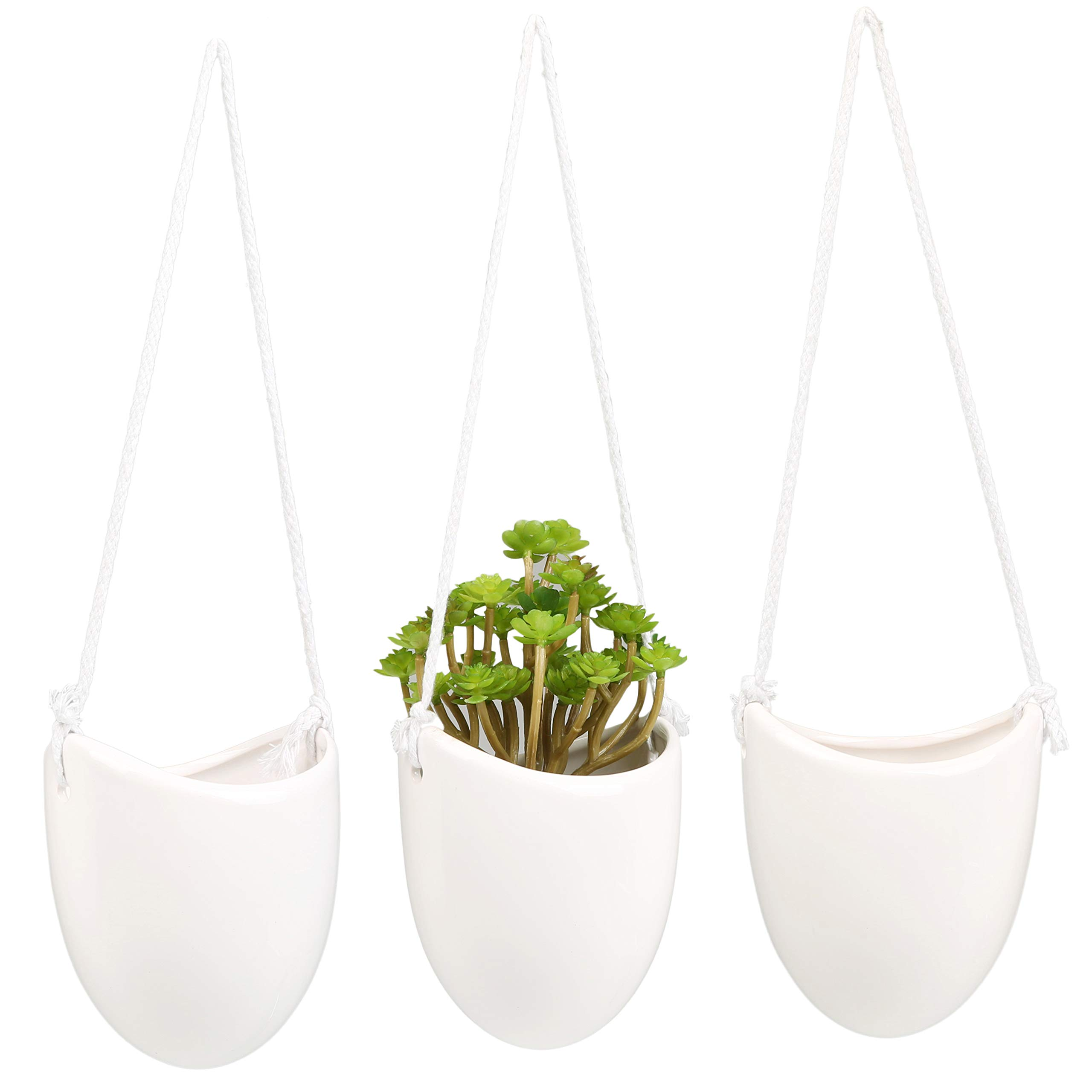 Mygift modern ceramic hanging planters succulent plant pots set of 3 white