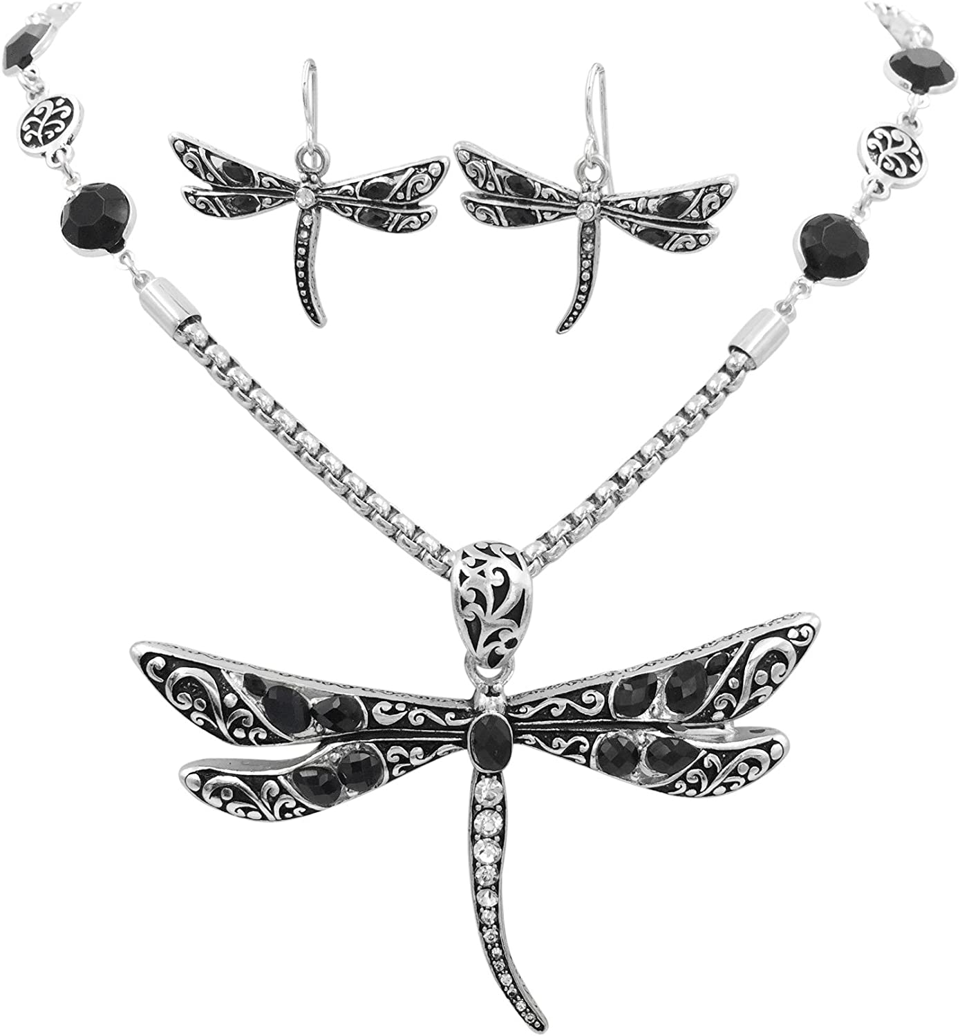 Gypsy Jewels Large Animal Nature Theme Silver Tone Statement Necklace & Earring Set