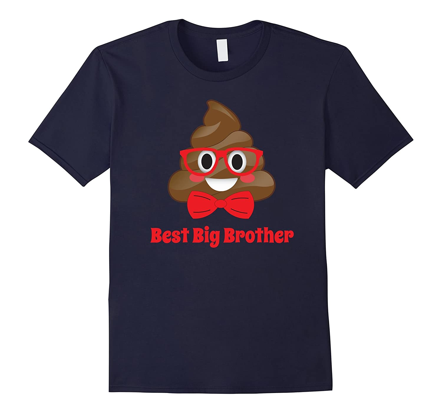 Cute Best Big Brother Red Bow, Glasses Boys Poop T-Shirt PJ-T-Shirt