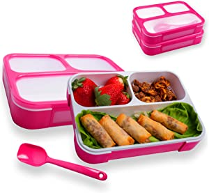Leakproof Bento Lunch Box With 3 Compartments   New Food Prep & Meal Planning Containers For Kids & Adults   BPA Free Leak Proof Bento Lunch Boxes   Microwave & Freezer Safe By Easy Togo (Pink 2 Pack)