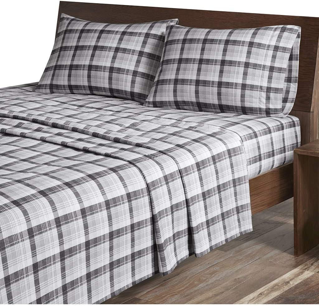 Amazon Com Woolrich Flannel Cotton Sheet Set Grey Plaid King Home Kitchen