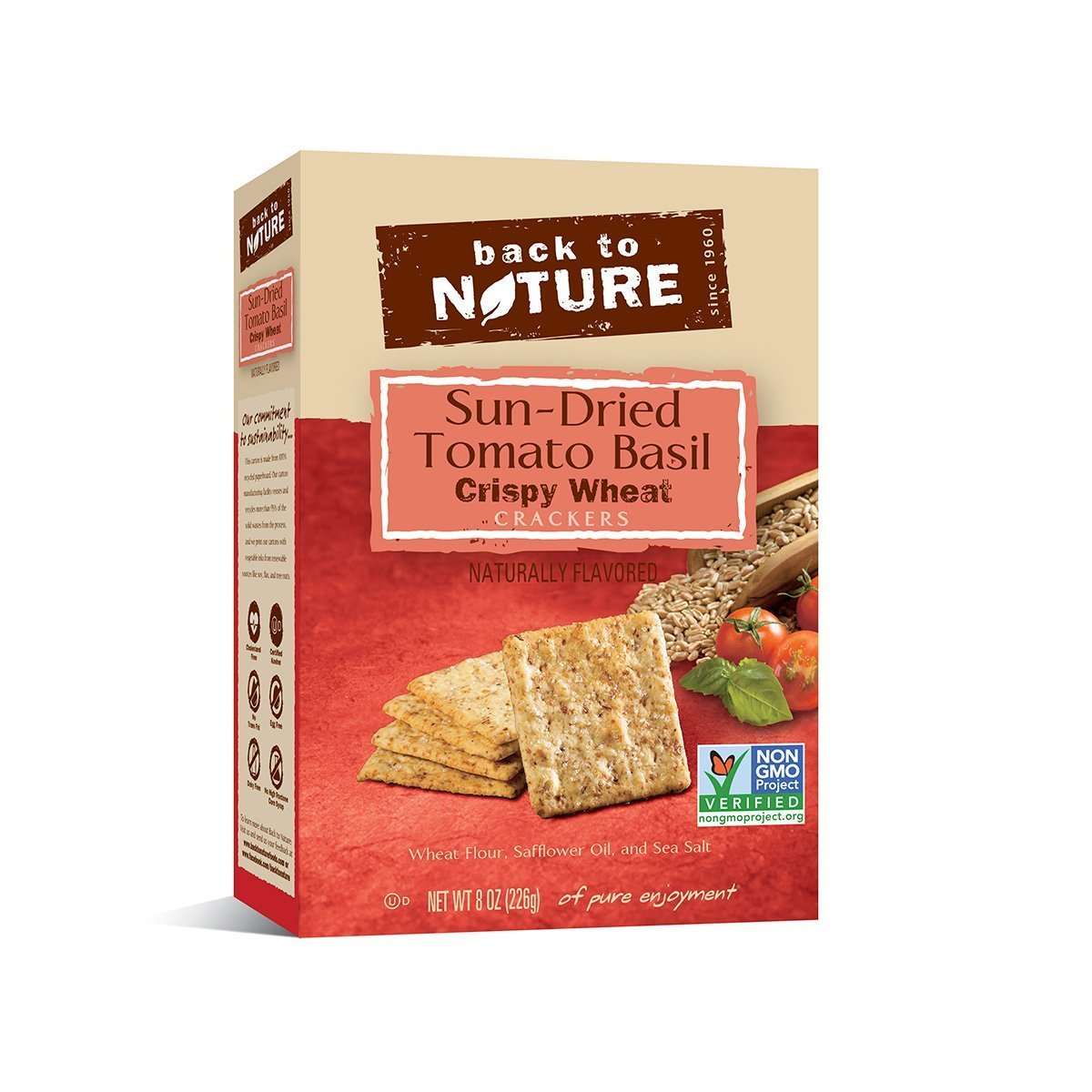 Back To Nature Crackers - Sundried Tomato Basil Crispy Wheat - 8 oz