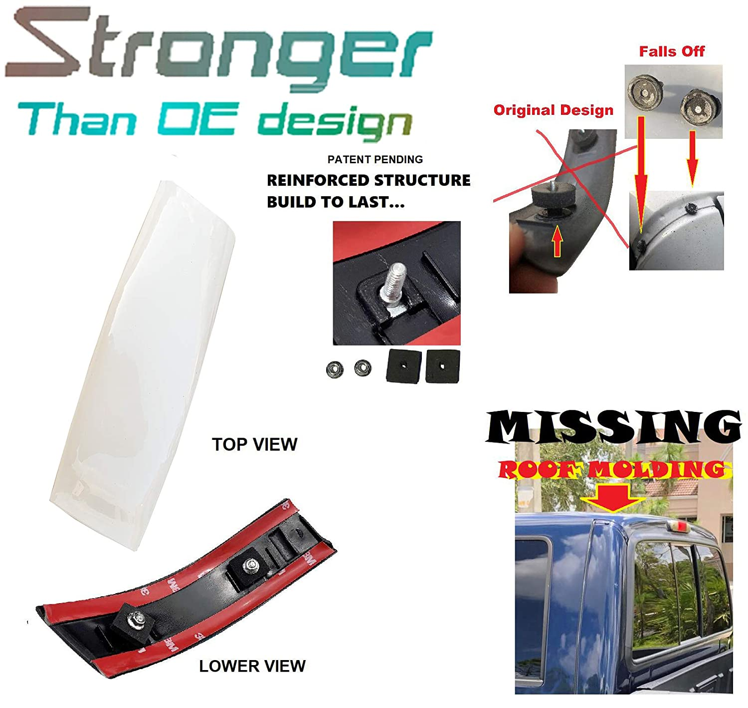 Upgraded Roof Molding For 99-07 Ford F-250 F-350 F-450 F-550 Super ...