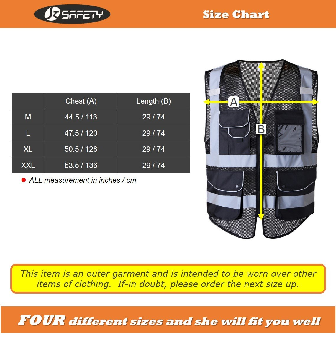 JKSafety 9 Pockets Class 2 High Visibility Zipper Front Safety Vest With Reflective Strips,HQ Breathable Mesh, Oxford Fabric for pocket materials. Black Meets ANSI/ISEA Standards (X-Large, Black) … by JKSafety (Image #6)