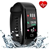 Fitness Tracker, Smart Watch With Color Screen, Heart Rate and Blood Pressure Monitor, Activity Tracker,IP67 Waterproof, Pedometer, Sleep Monitor, OLED, Bluetooth 4.0, Compatible with Android and IOS