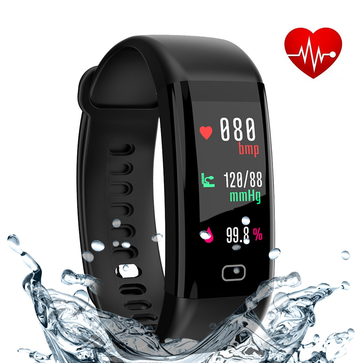 Eway Fitness Tracker, Smart Band with Heart Rate and Blood Pressure Monitor, Activity Tracker,IP67 Waterproof, Pedometer, Sleep Monitor, OLED, Bluetooth 4.0, Compatible with Android and IOS (black 1)