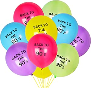 Yoaokiy 90S Theme Birthday Party Balloons Decorations Supplies, 60Pcs Back To The 90'S Hip Hop Theme Party Balloons, 90S Retro Throwback Party Latex Balloon Decor