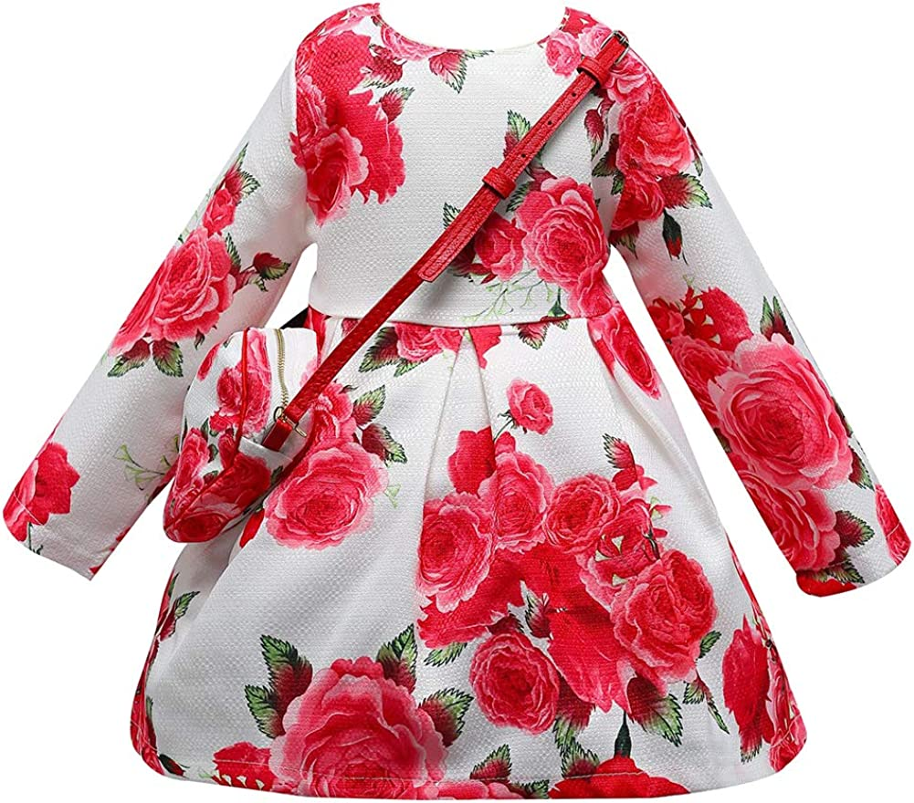 Goodkids Baby Girl Dress Toddler Cute Long Sleeve Flower Skirt Princess Wedding Party Costume with Bag