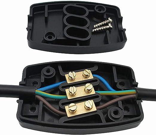 Conector lata Cable conector Escobillero Caja de conexión de cable con Clema 3 Pines 13 Amp: Amazon.es: Iluminación