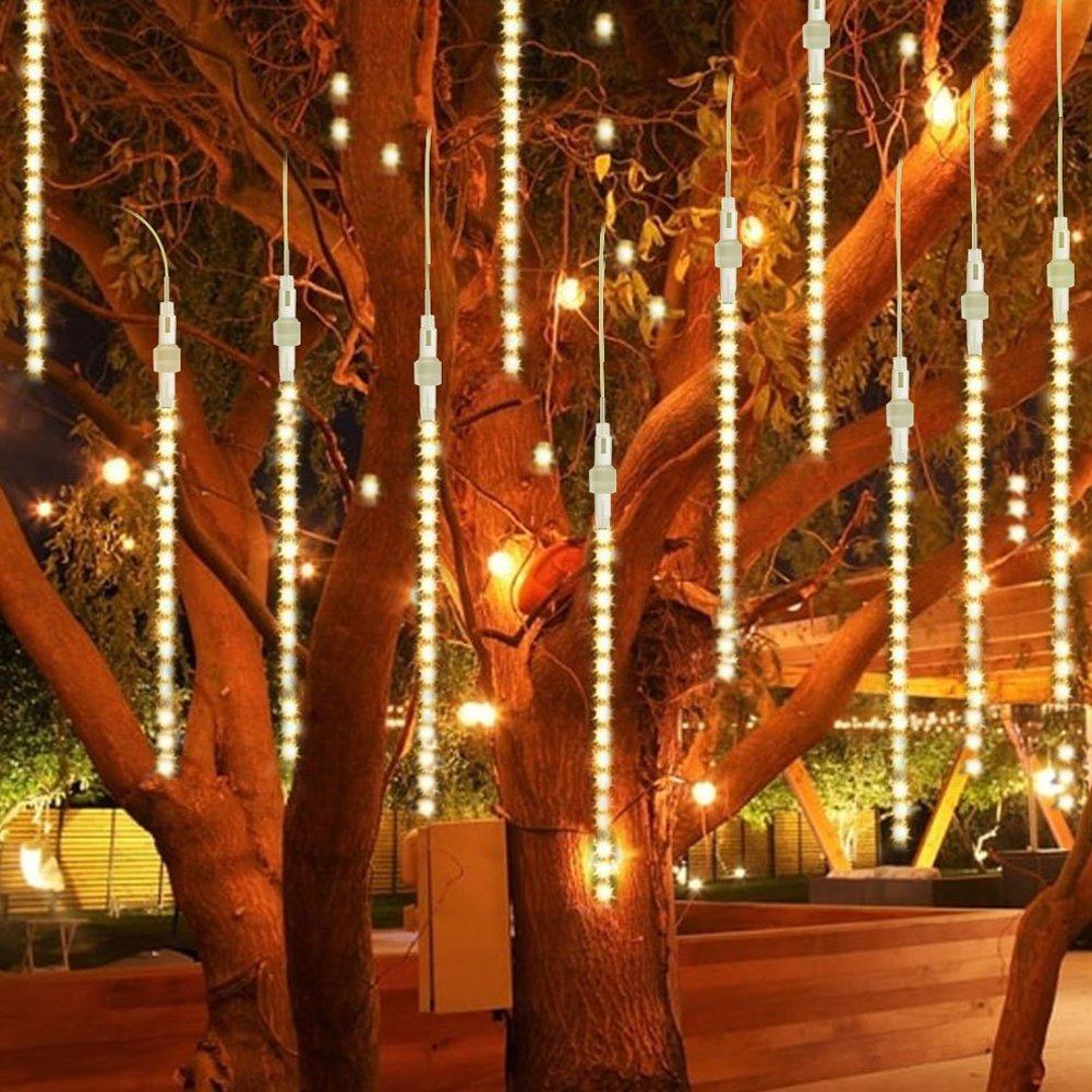 Luces de lluvia para exteriores, luces LED Meteor para ducha, impermeables, luces de jardín, luces de nieve, cascada, para vacaciones, bodas, hogar, árbol de Navidad, decoración de 8 unidades, 50 cm Sel-More