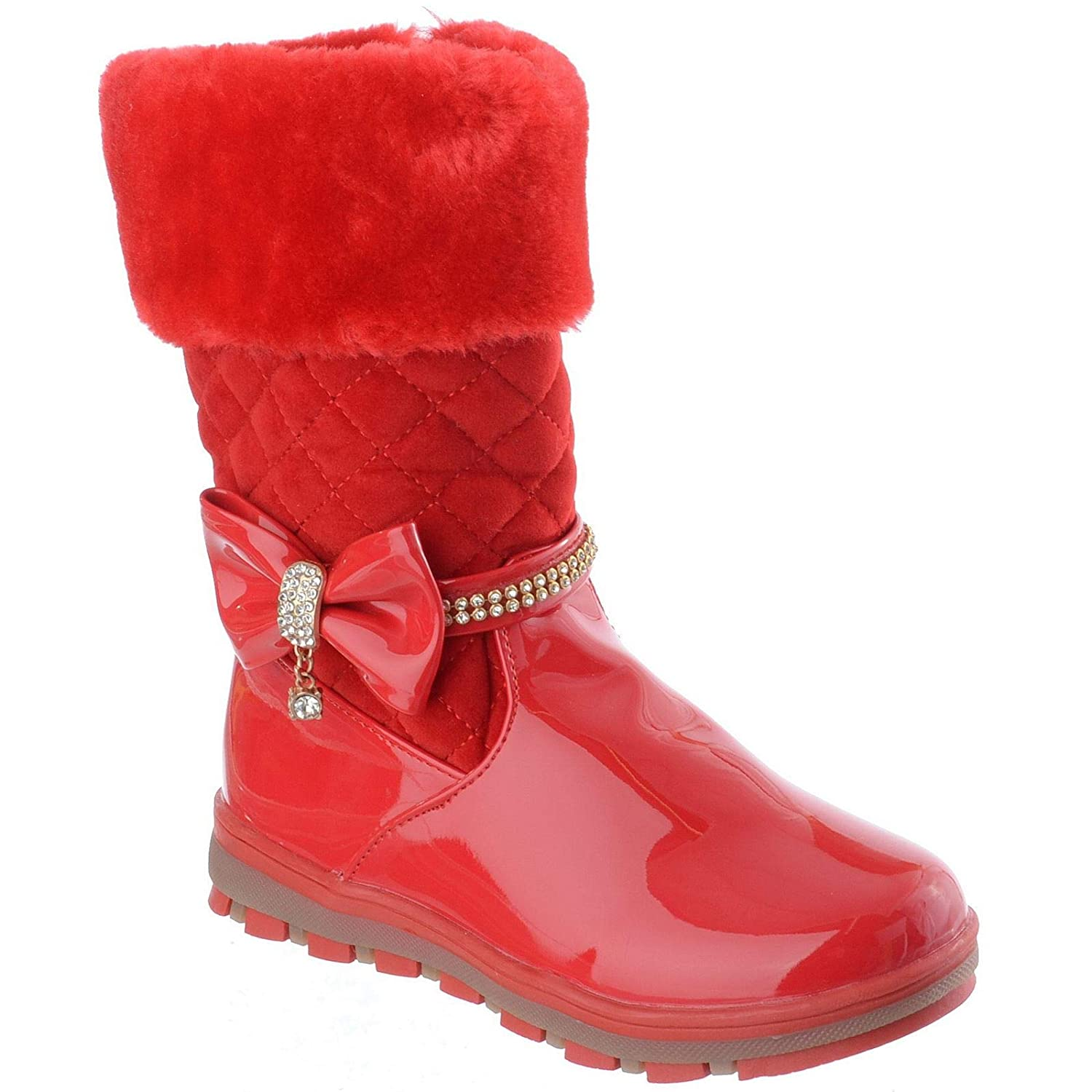 Miss Image UK Girls Kids Infants Winter Warm Quilted Bow Diamante Zip Ankle Boots Shoes Size