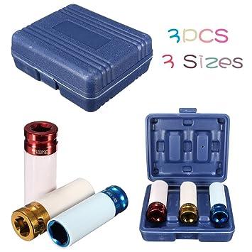 3Pcs Alloy Wheel Nut Thin Wall DEEP Impact Socket Set 1//2inch Drive 17mm 19mm...