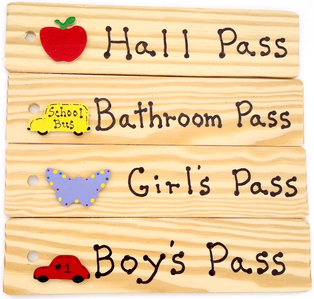 School Passes - AA-911 EGSET4-CAR Set of 4(Hall, Bathroom, Boy's & Girl's) Made in USA - 8''x2'' Wooden Pass w/Hang Loop.
