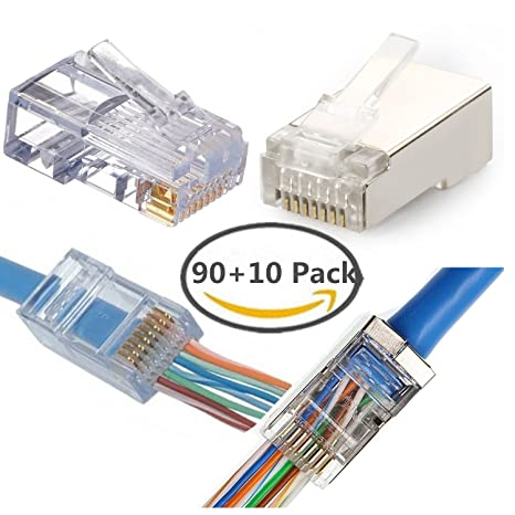Amazon.com: CAT6 Connector 90 Pack - Shielded modular plug 10 Pack ...