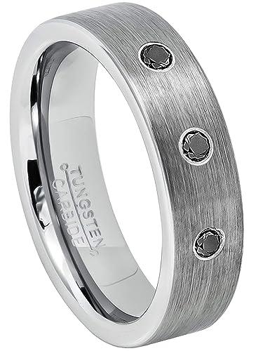 de67fb80edab6 Jewelry Avalanche 0.21ctw Black Diamond 3-Stone Tungsten Ring ...