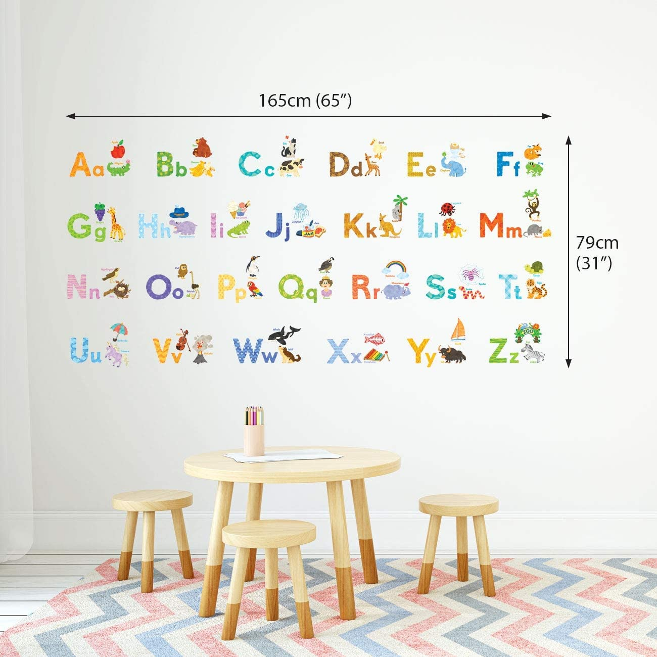 DECOWALL DW-1701S alphabet avec photos enfants autocollants muraux Wall Decals
