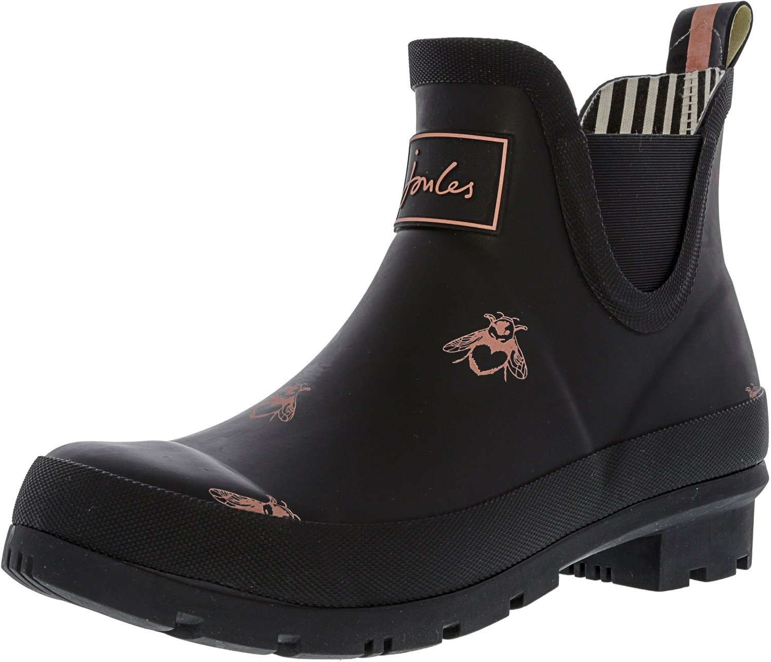 Joules Women's Wellibob Black Love Bees Ankle-High Rubber Rain Boot - 6M
