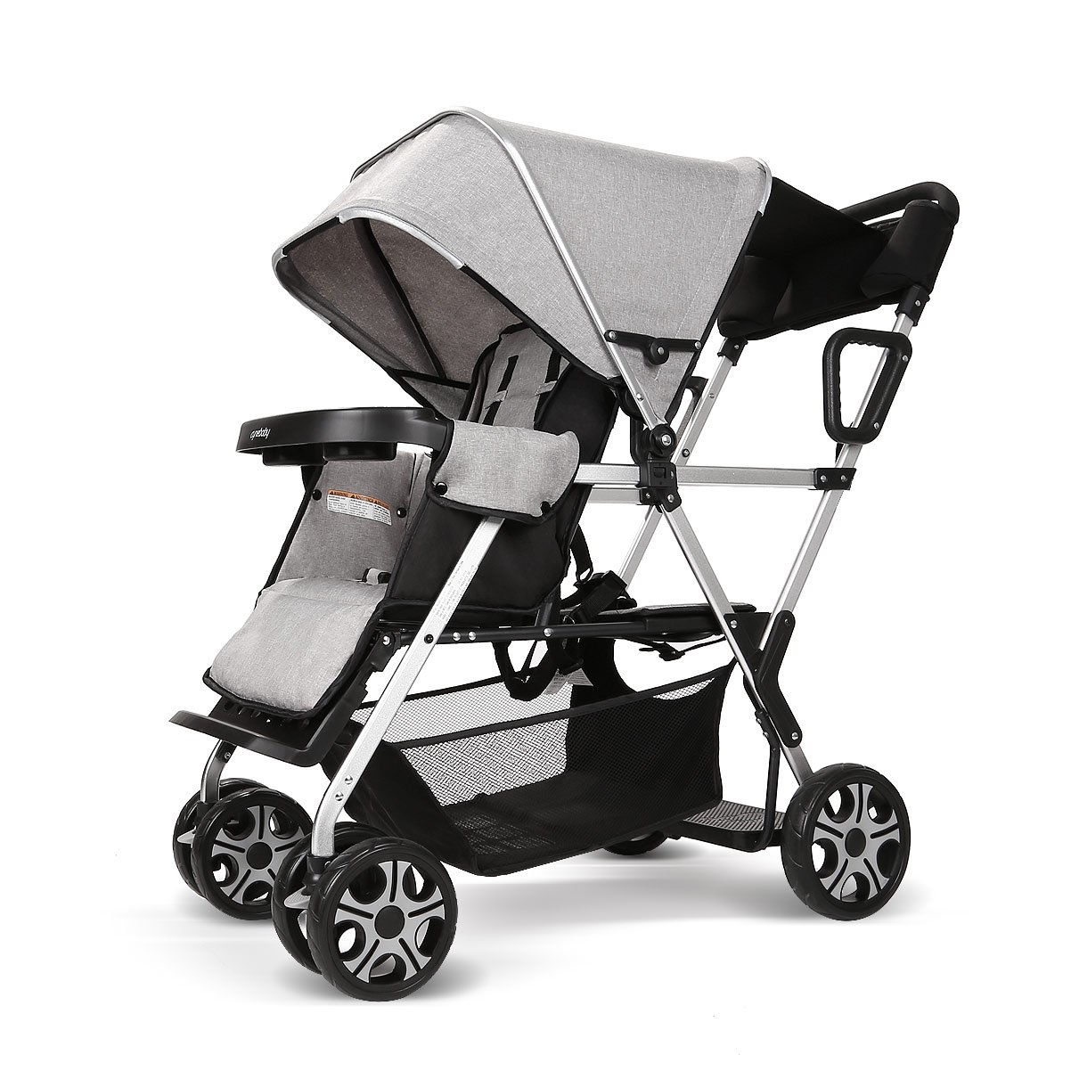 Double Stroller Convenience Urban Twin Carriage Stroller Tandem Collapsible Stroller All Terrain Double Pushchair for Toddler Girls and Boys Stable Stroller Frame with Bag Organizer (Oxford Grey) YIWANBA BR1OXGR