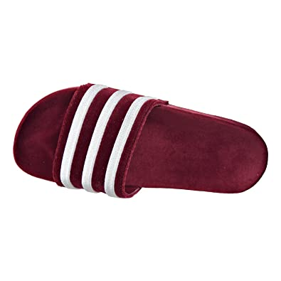adidas Adilette Velvet Womens Sandals Core Burgundy Footwear White Core  Burgundy ac7210 (12 25bc1add9