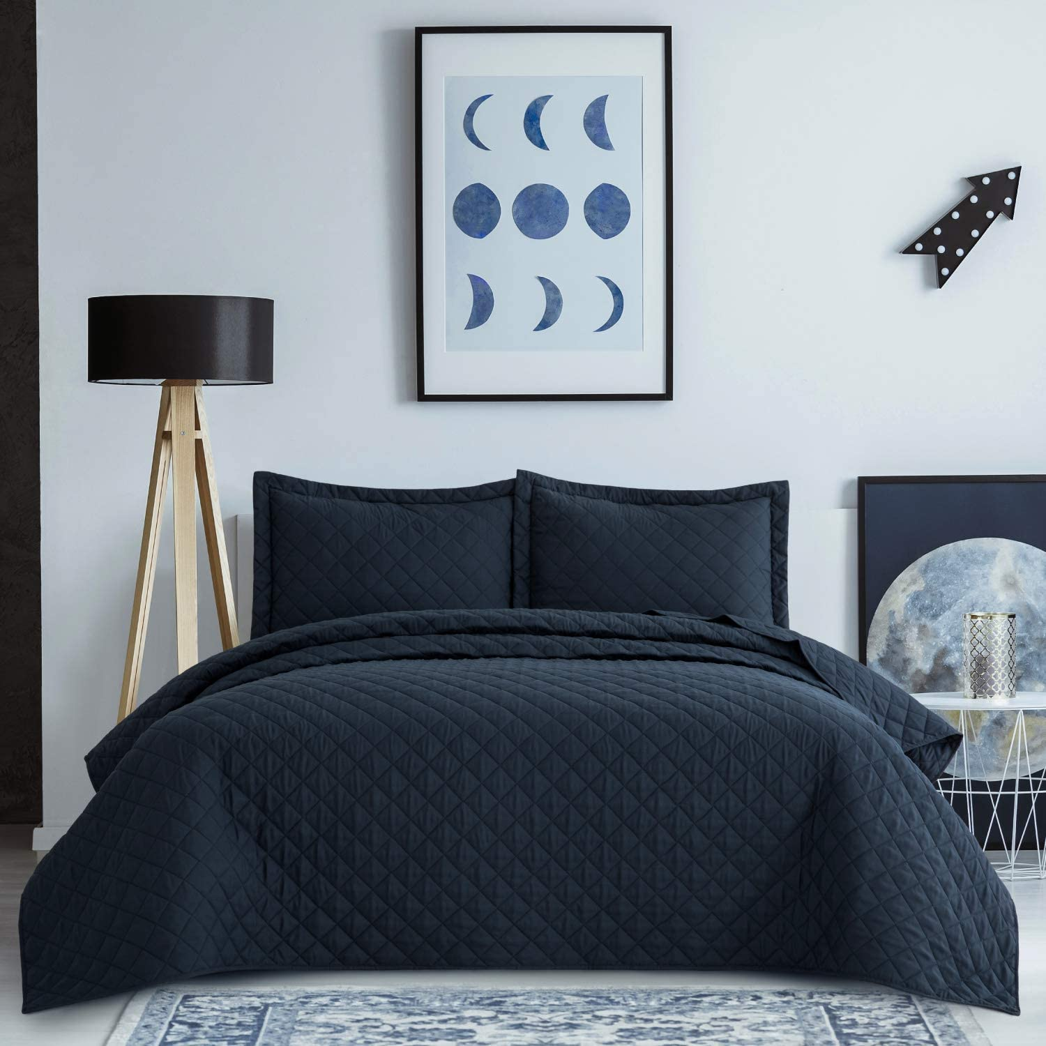 Bedsure Quilt Set Navy King Size (106x96 inches) - Diamond Stitched Pattern Bedspread - Soft Microfiber Lightweight Coverlet for All Season