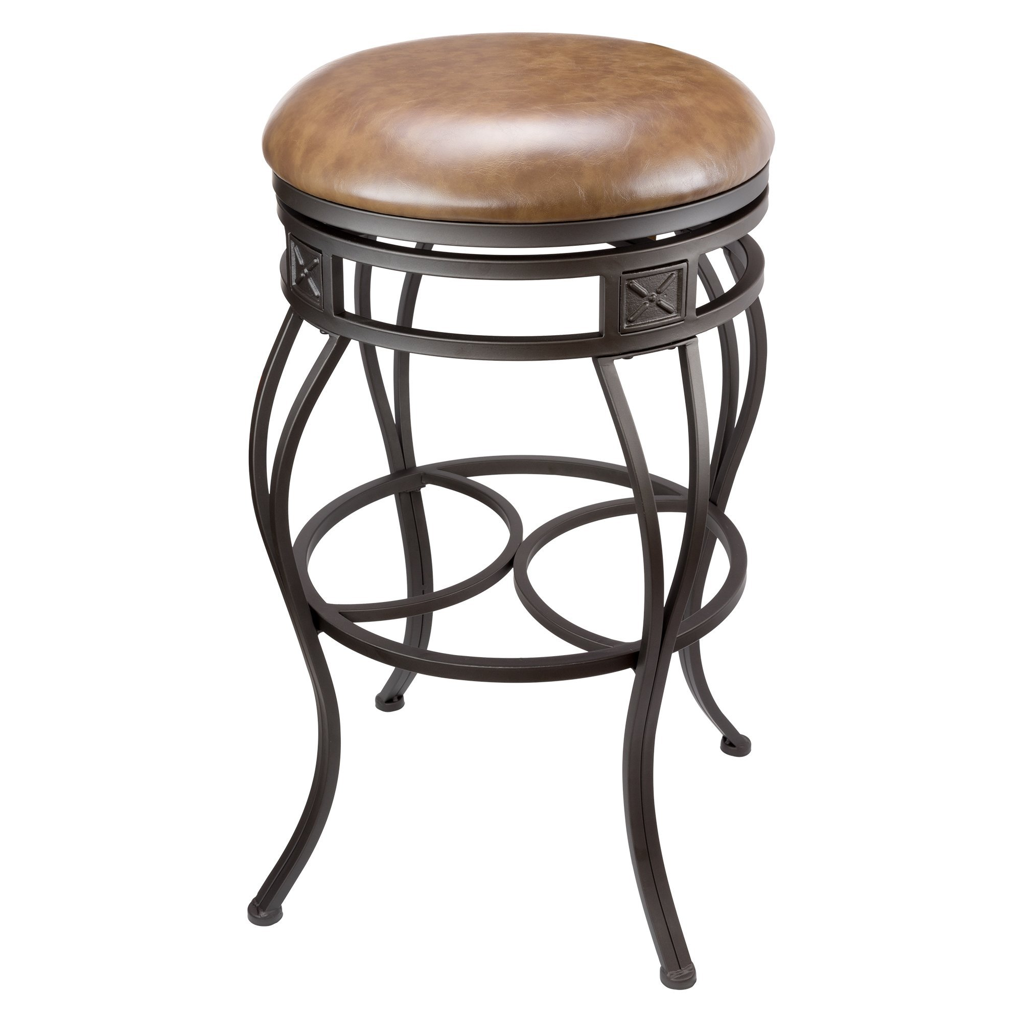 Revel Monarch 30'' Backless Swivel Bar Stool, Old Steel Finish, Brown Faux Leather Seat