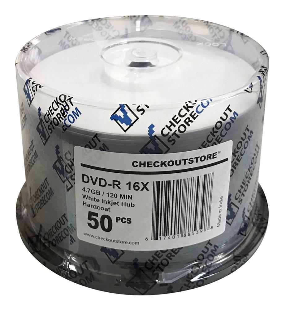 (600) CheckOutStore Premium 16x DVD-R 4.7GB in Spindle (White Inkjet Hard Coat)