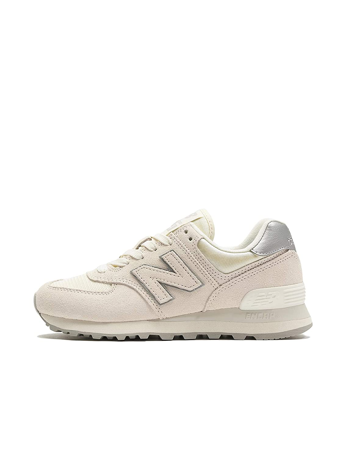 Amazon.com: New Balance | 574 Sateen Tab Suede Mesh White ...