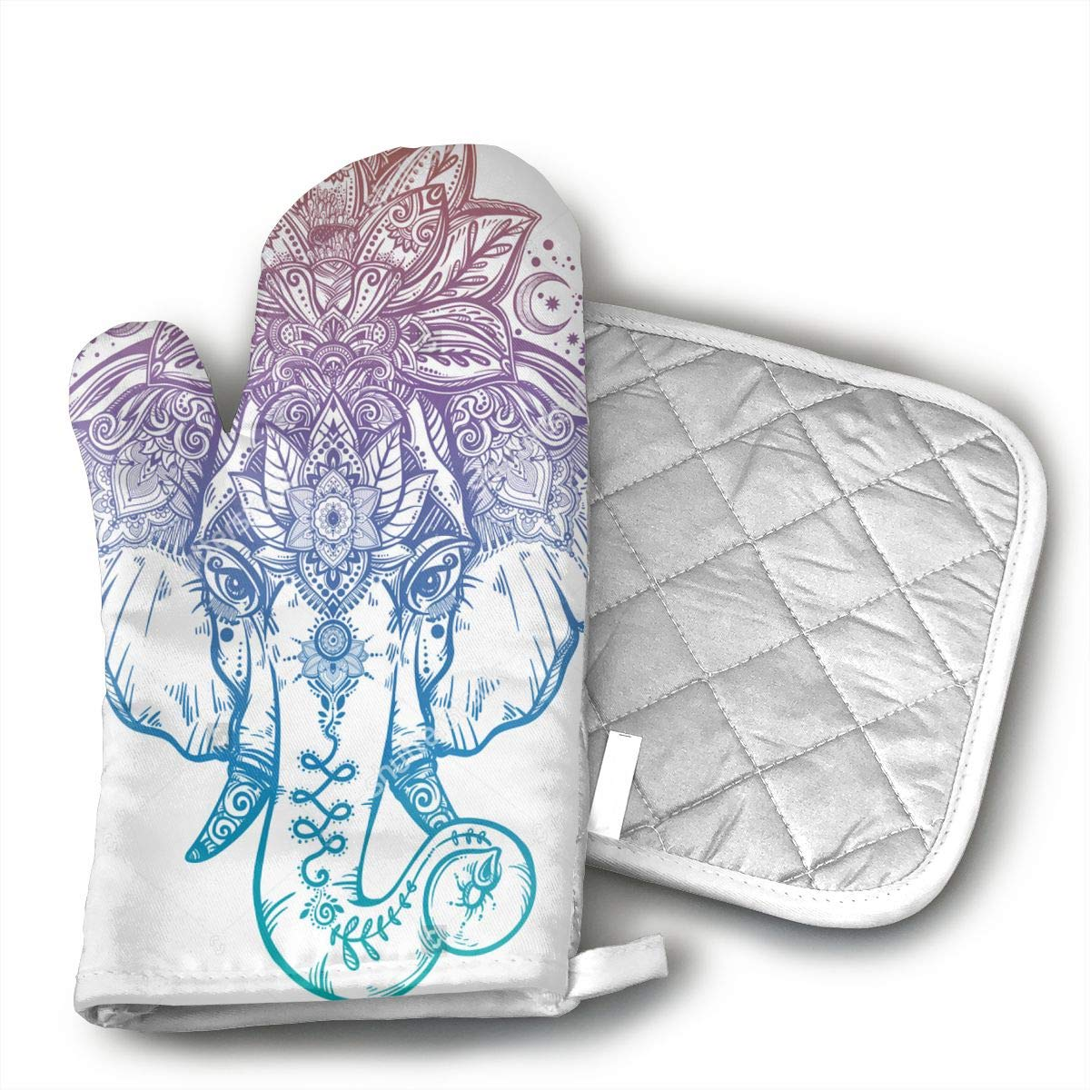 Ubnz17X Vintage Elephant Indian Oven Mitts and Pot Holders for Kitchen Set with Cotton Non-Slip Grip,Heat Resistant