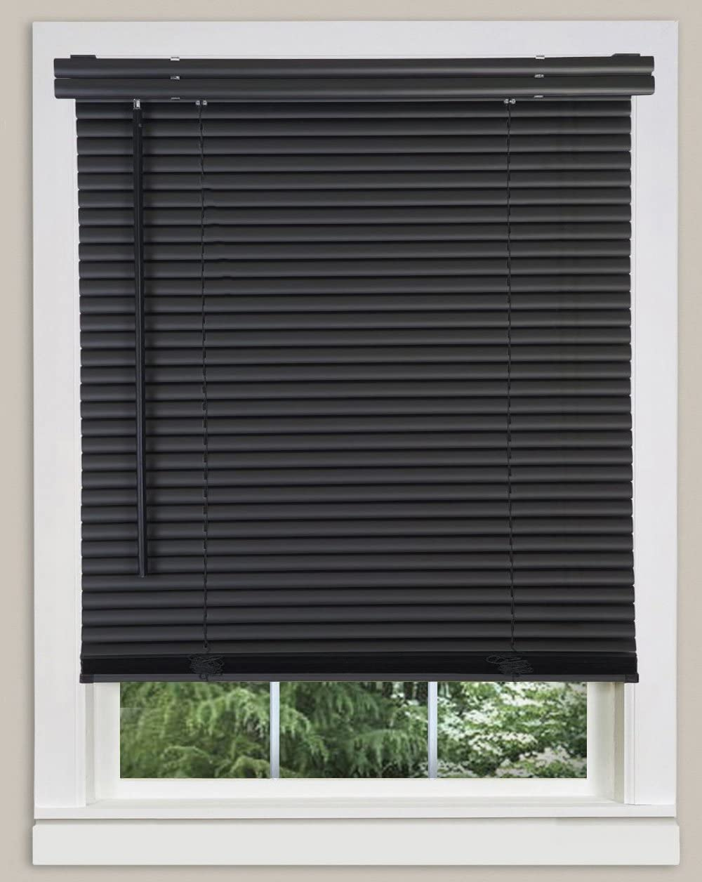 PowerSellerUSA Cordless Window Blinds 1 Slats Light Filtering Vinyl Mini Blind – Black, 52 Width x 64