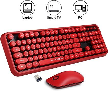 K2 teclado inalámbrico y ratón Combo,lindo teclado inalámbrico con estilo retro redondo tecla roja, conectividad de 2,4 GHz, para PC portátil