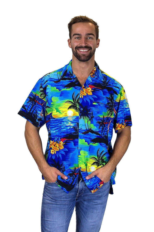 V.H.O Funky Hawaiian Shirt For Men Short Sleeve Front-Pocket Surf Multiple Colors