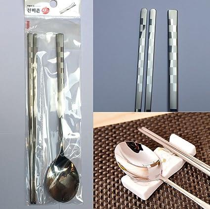 Amazon Com Art Sense Stainless Steel Spoon And Chopsticks 1set
