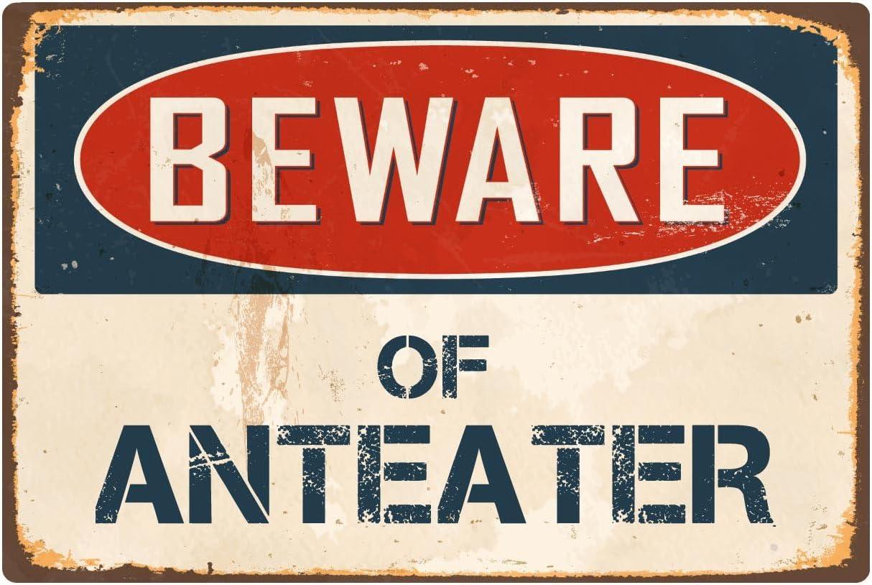 """StickerPirate Beware of Anteater 8"""" x 12"""" Vintage Aluminum Retro Metal Sign VS021"""