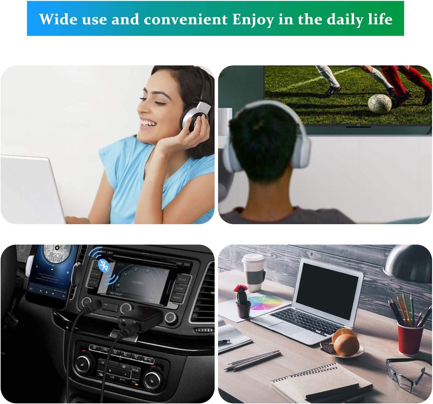 Tokenhigh Adattatore USB Bluetooth 5.0 2 in 1 Bluetooth Trasmettitore Ricevitore Adattatore con 3.5mm AUX Wireless Bluetooth Adattatore Audio per TV//PC//Telefoni//Altoparlanti//Autoradio