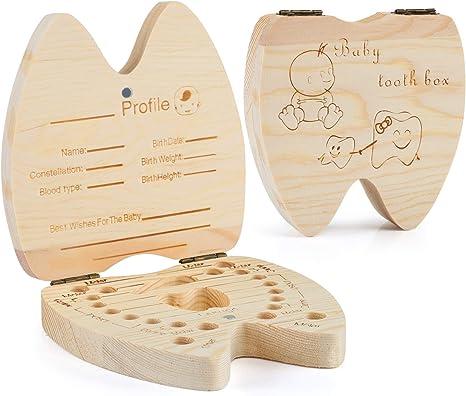 Kesote Caja de Dientes de Leche para Niño Caja Almacenamiento Dientes de Madera de Inglés Para Bebé Niño o Niña: Amazon.es: Bebé