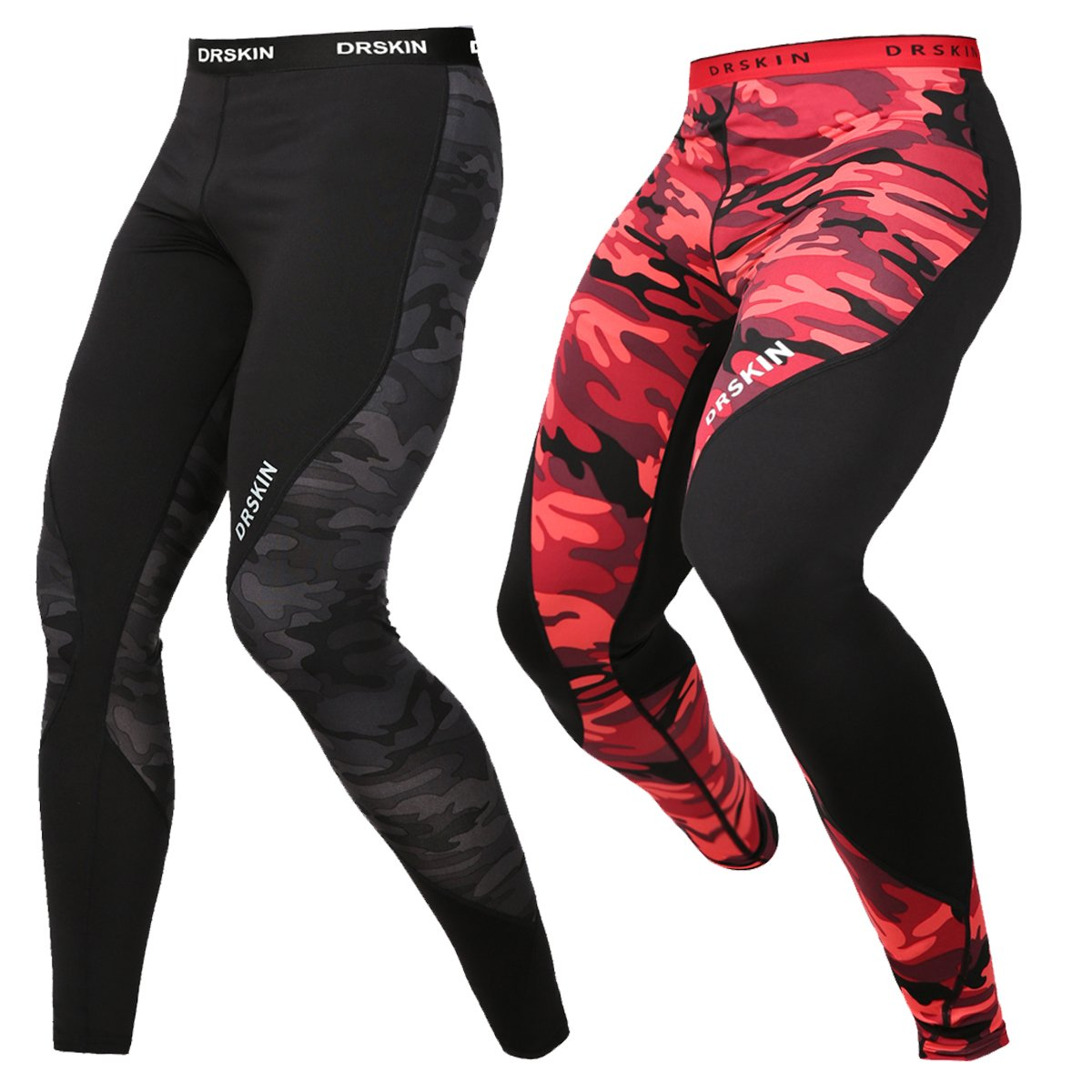DRSKIN Men's Compression Dry Cool Sports Tights Pants Baselayer Running Leggings Yoga (Twin (MRE-B03+B-MBB04), XL)